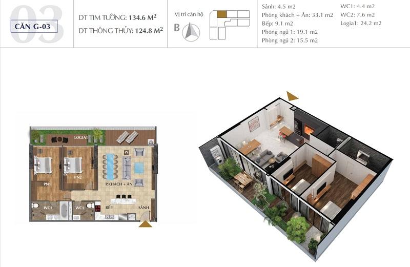 Thiết kế căn A03 chung cư Sunshine Golden River - Ciputra Tây Hồ
