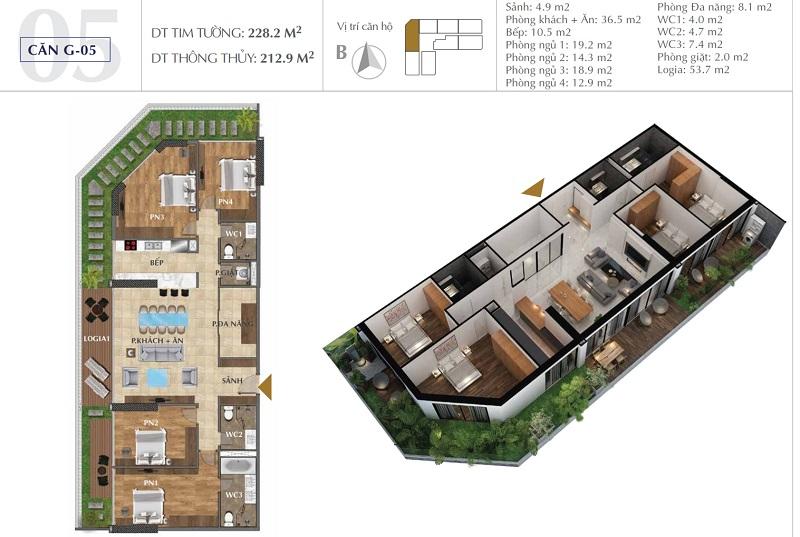 Thiết kế căn A05 chung cư Sunshine Golden River - Ciputra Tây Hồ