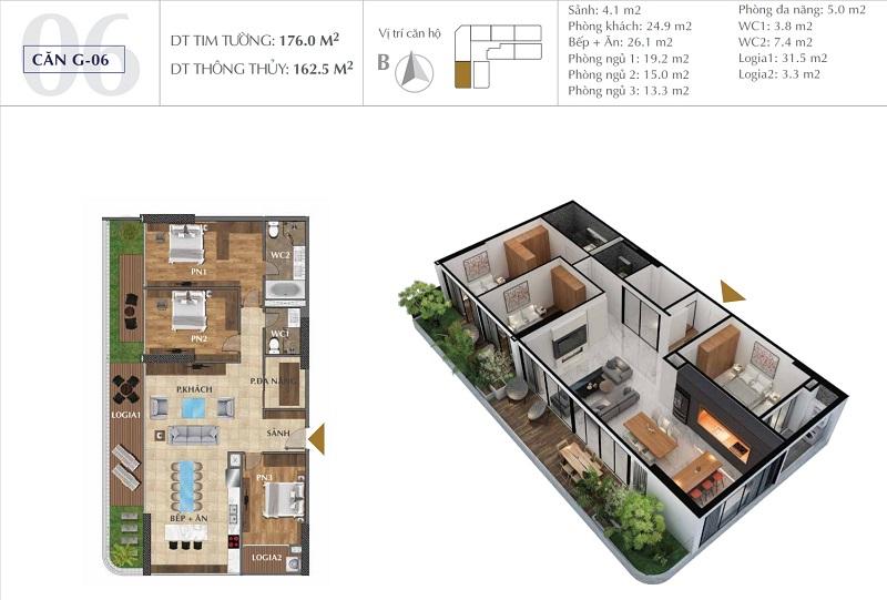 Thiết kế căn A06 chung cư Sunshine Golden River - Ciputra Tây Hồ