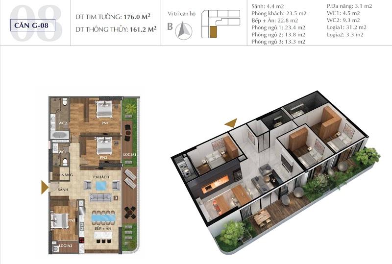 Thiết kế căn A08 chung cư Sunshine Golden River - Ciputra Tây Hồ