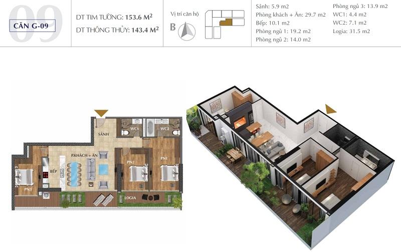 Thiết kế căn A09 chung cư Sunshine Golden River - Ciputra Tây Hồ