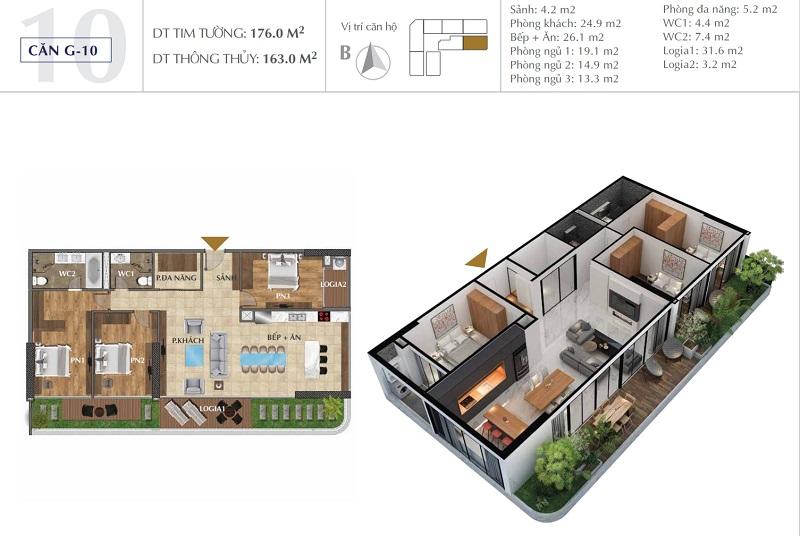 Thiết kế căn A10 dự án chung cư Sunshine Golden River - Ciputra Tây Hồ
