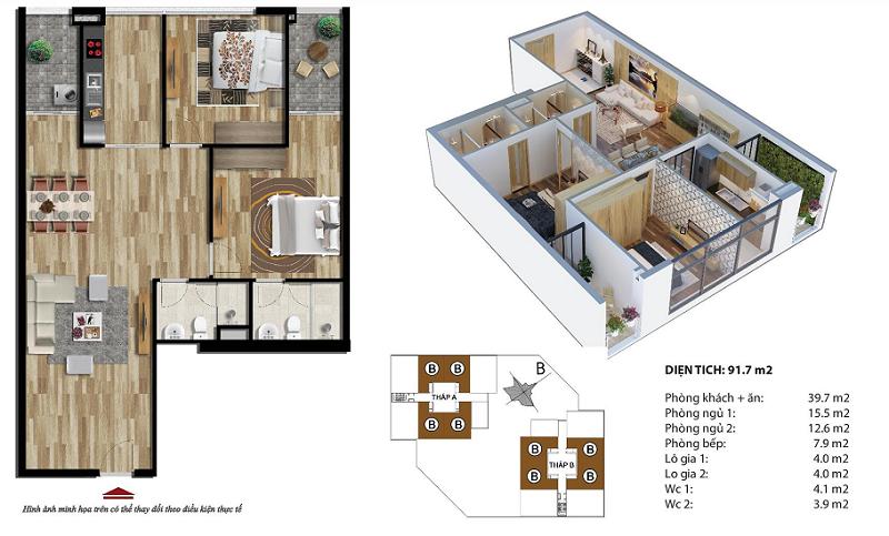 Thiết kế căn B chung cư 35 Lê Văn Thiêm - Stellar Garden