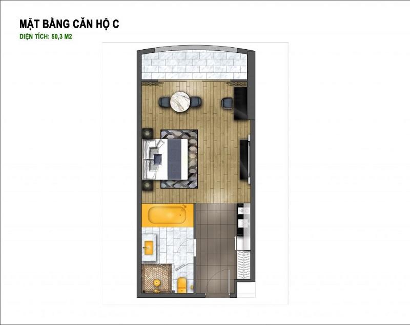 Thiết kế căn C chung cư B7 Giảng Võ - Golden Lake Hòa Bình