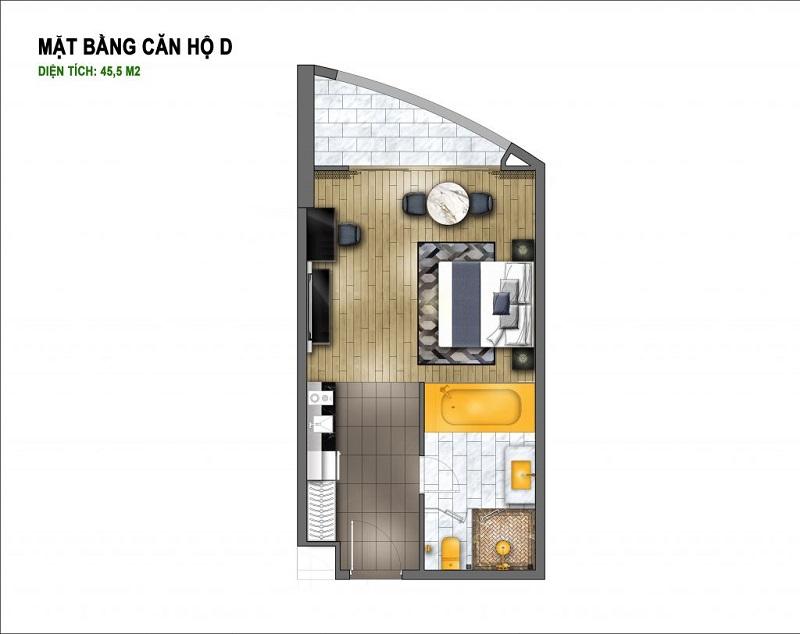 Thiết kế căn D chung cư B7 Giảng Võ - Golden Lake Hòa Bình