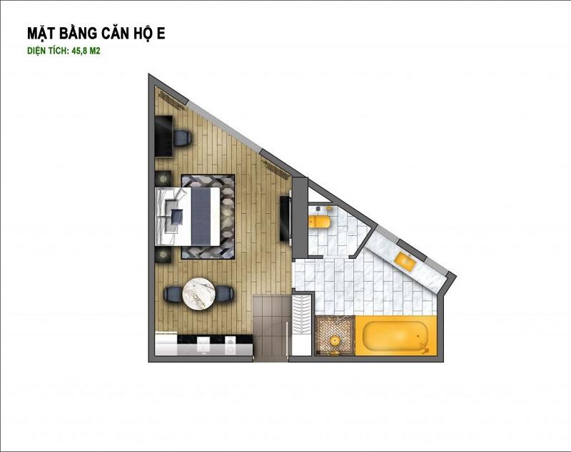 Thiết kế căn E chung cư B7 Giảng Võ - Golden Lake Hòa Bình