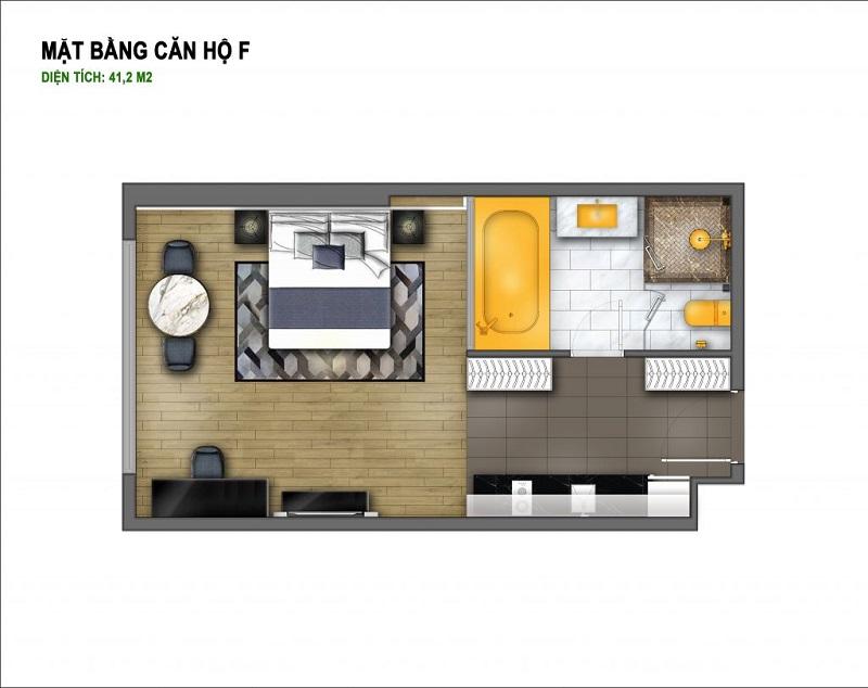 Thiết kế căn F chung cư B7 Giảng Võ - Golden Lake Hòa Bình