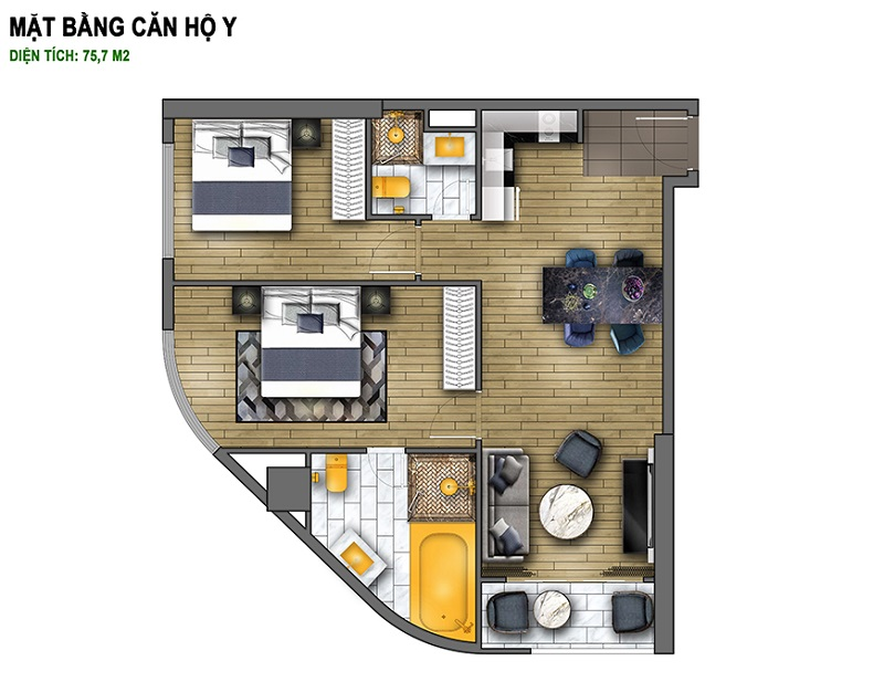 Thiết kế căn Y dự án chung cư B7 Giảng Võ - Golden Lake Hòa Bình