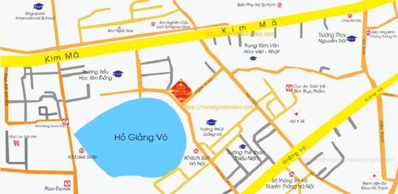Vị trí chung cư B7 Giảng Võ - Golden Lake Hòa Bình