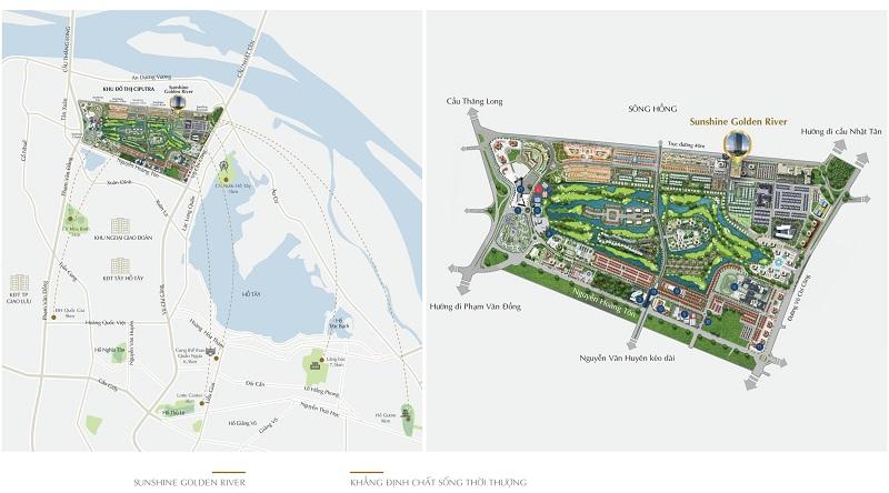 Vị trí dự án Sunshine Golden River - Ciputra Tây Hồ