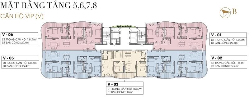 Mặt bằng căn hộ tầng 5-6-7-8 dự án Five Star West Lake 167 Thụy Khuê - 162 Hoàng Hoa Thám