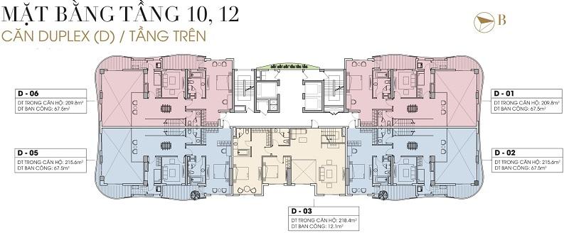 Mặt bằng Duplex tầng 10-12 dự án Five Star West Lake 167 Thụy Khuê - 162 Hoàng Hoa Thám