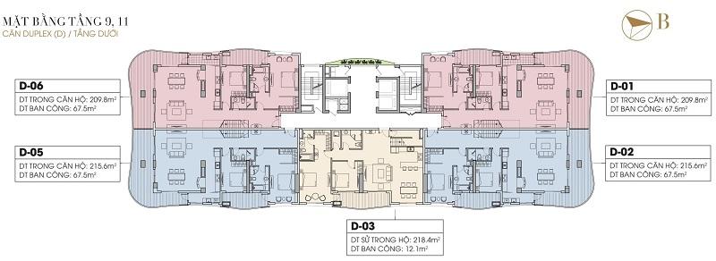Mặt bằng Duplex tầng 9-11 dự án Five Star West Lake 167 Thụy Khuê - 162 Hoàng Hoa Thám