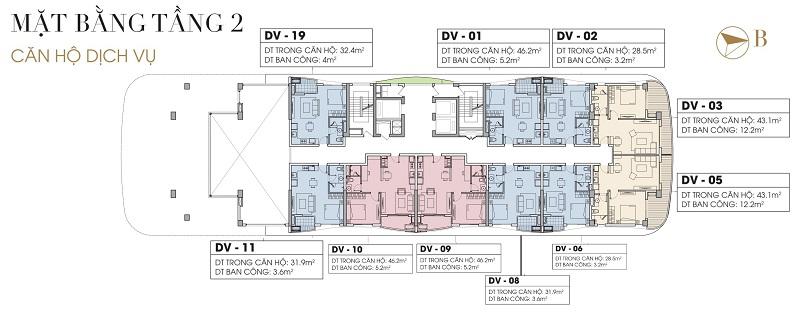 Mặt bằng Officetel tầng 2 dự án Five Star West Lake 167 Thụy Khuê - 162 Hoàng Hoa Thám