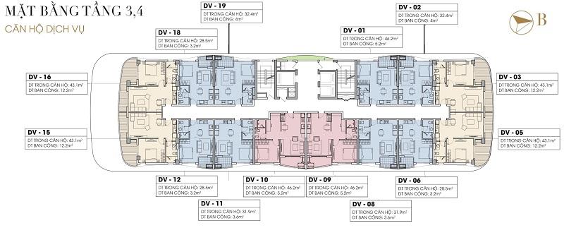 Mặt bằng Officetel tầng 3-4 dự án Five Star West Lake 167 Thụy Khuê - 162 Hoàng Hoa Thám