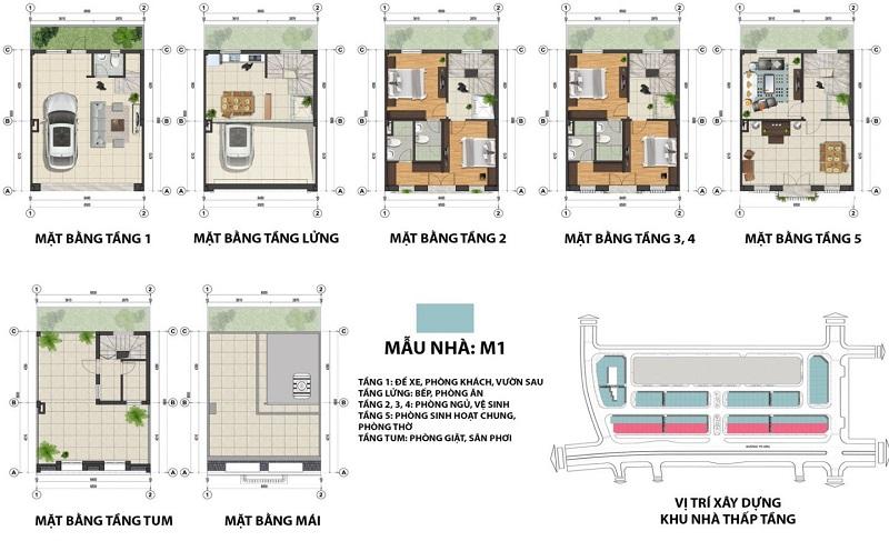 Mặt bằng shophouse mẫu M1 dự án The Terra An Hưng Văn Phú - Hà Đông