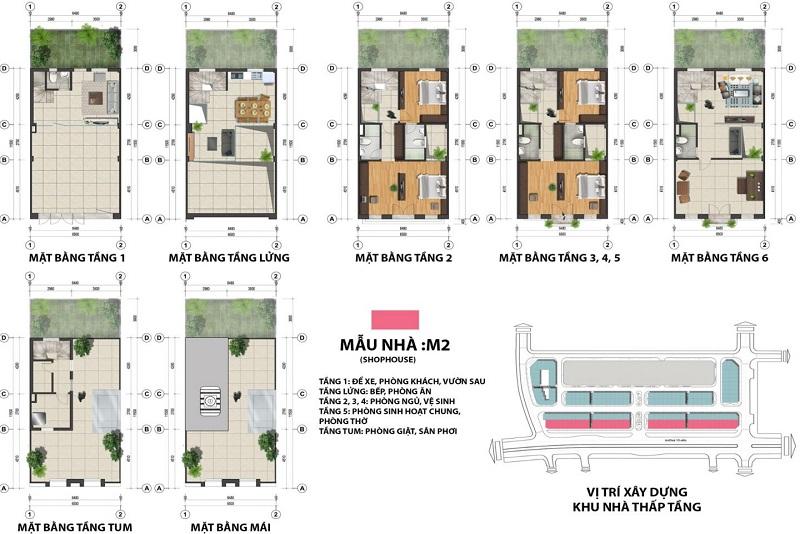 Mặt bằng shophouse mẫu M2 dự án The Terra An Hưng Văn Phú - Hà Đông