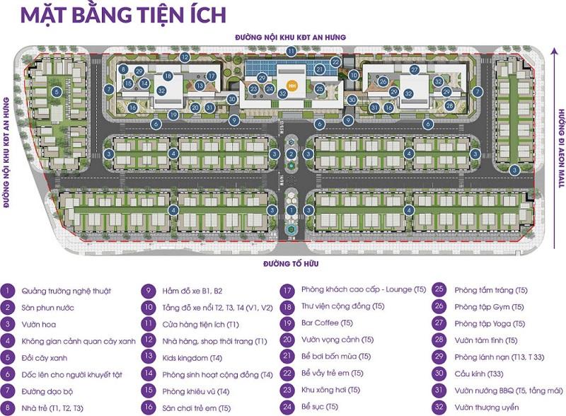 Mặt bằng tiện ích dự án The Terra An Hưng Văn Phú - Hà Đông