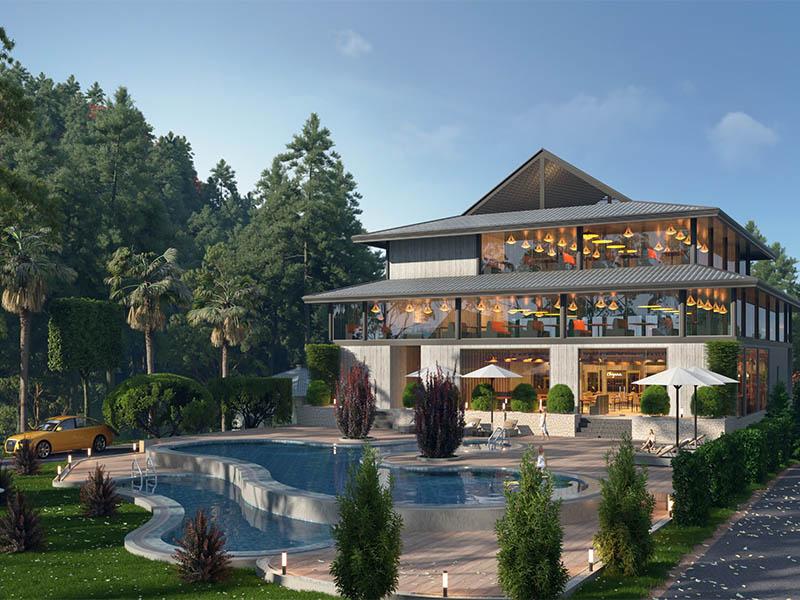 Nhà hàng trung tâm dự án Biệt thự nghỉ dưỡng Sakana Resort Hòa Bình