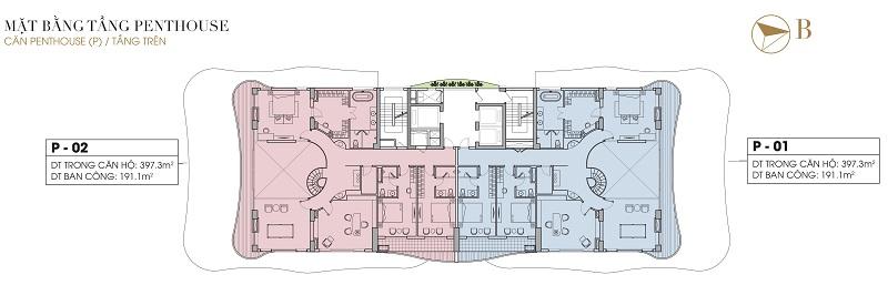 Penthouse tầng 14 (tầng trên) dự án Five Star West Lake 167 Thụy Khuê - 162 Hoàng Hoa Thám