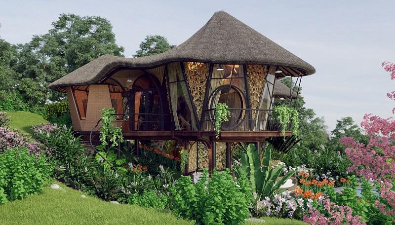 Phối cảnh 1 nhà nón dự án Sakana Resort Hòa Bình