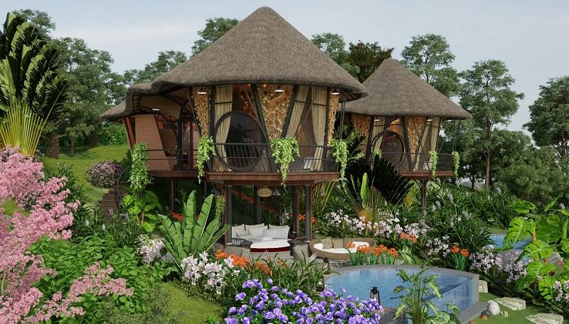 Phối cảnh 2 nhà nón dự án Sakana Resort Hòa Bình