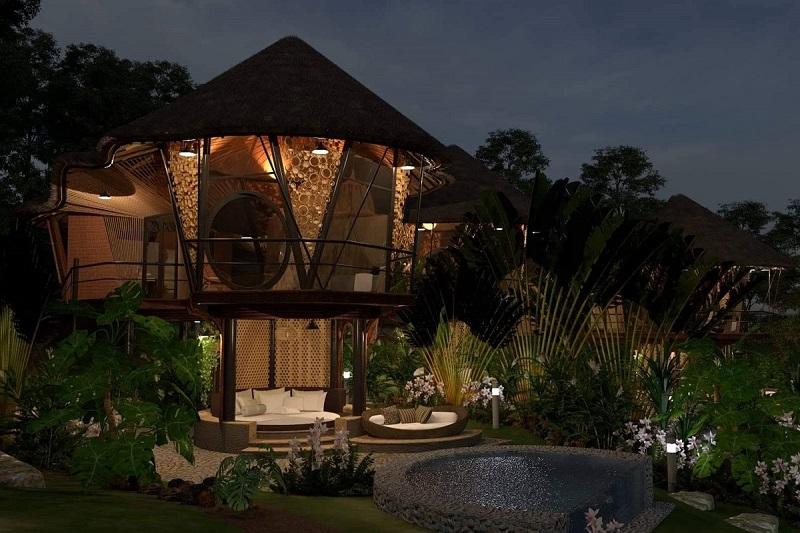 Phối cảnh 3 nhà nón dự án Sakana Resort Hòa Bình