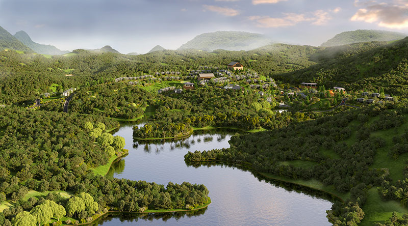 Phối cảnh 4 dự án Biệt thự nghỉ dưỡng Sakana Resort Hòa Bình