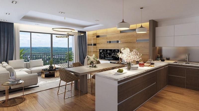 Phối cảnh nội thất phòng khách dự án The Terra An Hưng - Hà Đông