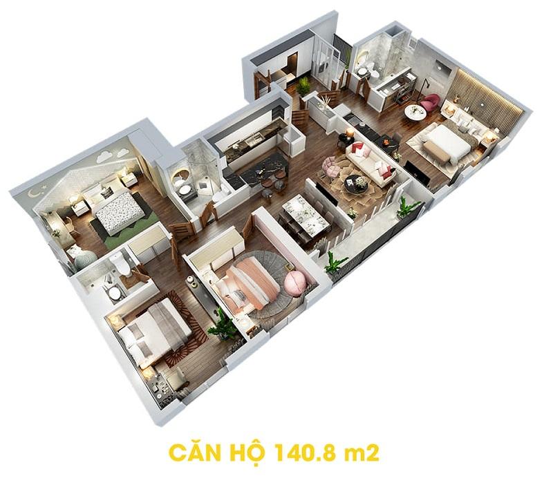 Thiết kế căn hộ 140,8m2 dự án The Terra An Hưng Văn Phú - Hà Đông