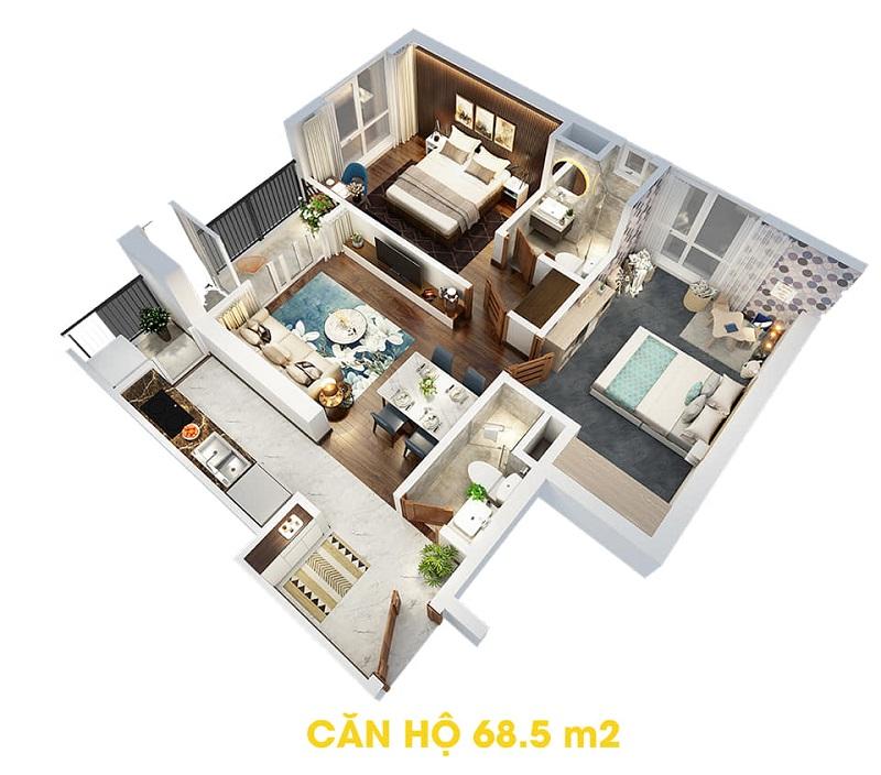 Thiết kế căn hộ 68,5m2 dự án The Terra An Hưng Văn Phú - Hà Đông