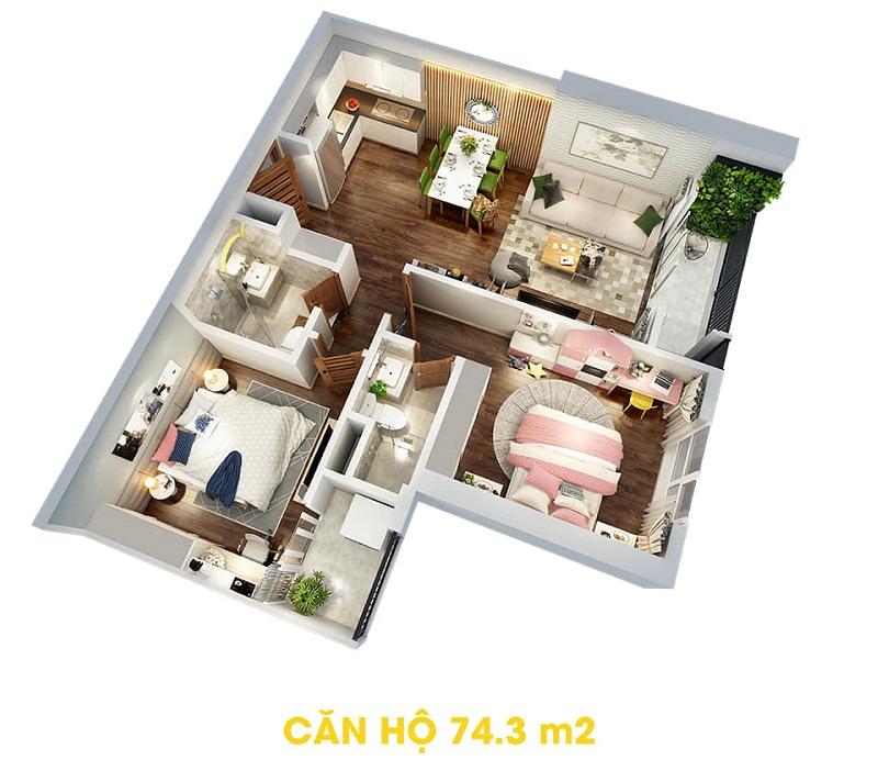Thiết kế căn hộ 74,3m2 dự án The Terra An Hưng Văn Phú - Hà Đông