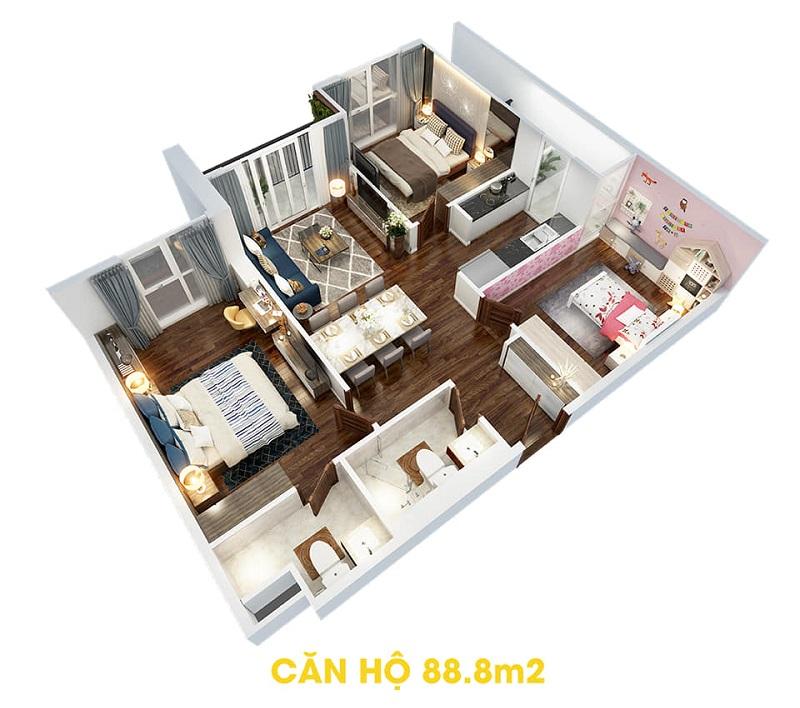 Thiết kế căn hộ 88,8m2 dự án The Terra An Hưng Văn Phú - Hà Đông