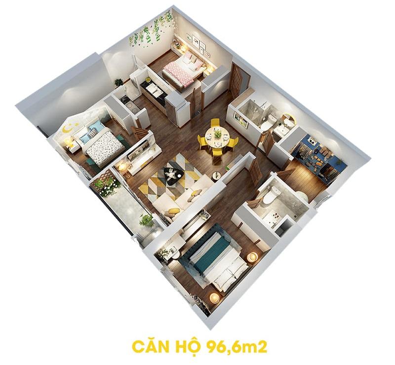 Thiết kế căn hộ 96,6m2 dự án The Terra An Hưng Văn Phú - Hà Đông