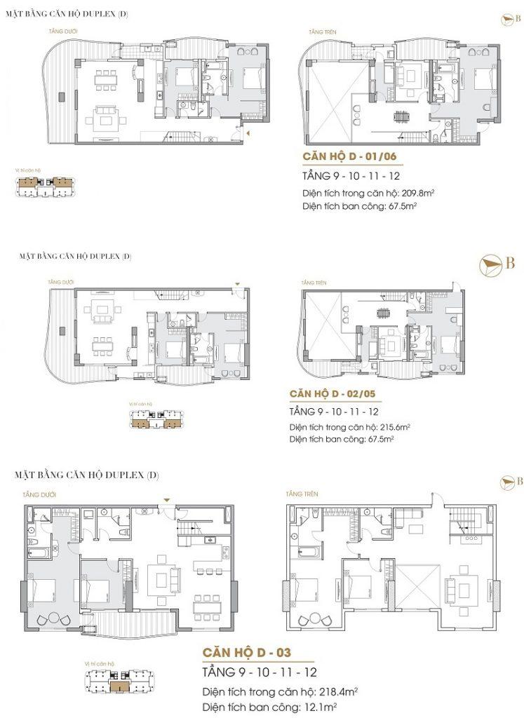 Thiết kế căn hộ Duplex dự án Five Star West Lake 167 Thụy Khuê - 162 Hoàng Hoa Thám