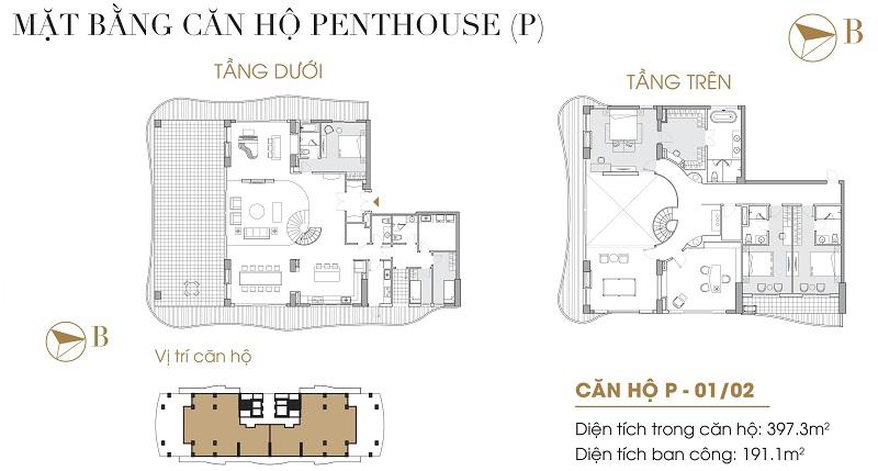 Thiết kế căn hộ Penthouse dự án Five Star West Lake 167 Thụy Khuê - 162 Hoàng Hoa Thám
