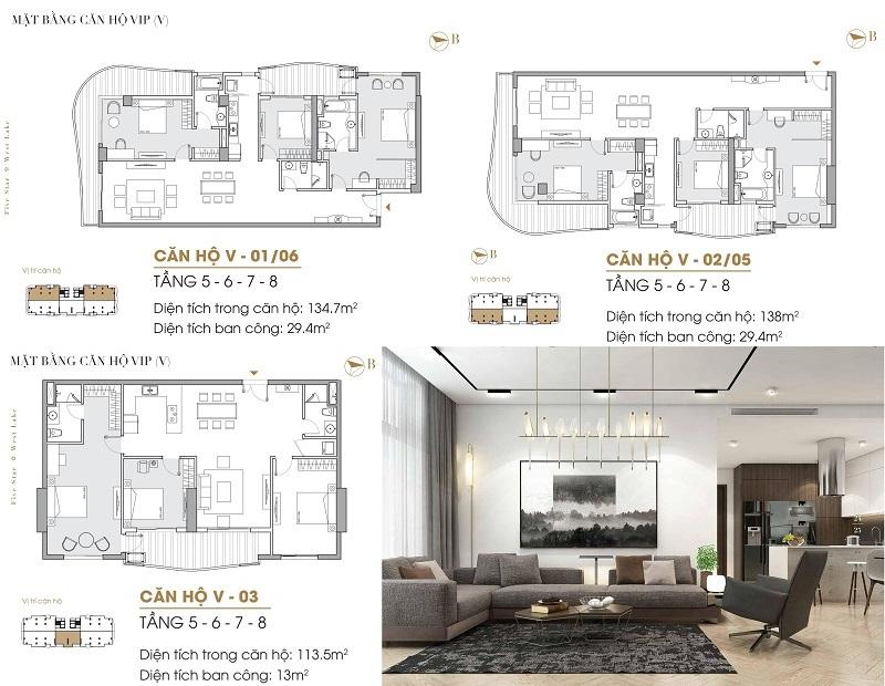 Thiết kế căn hộ Vip dự án Five Star West Lake 167 Thụy Khuê - 162 Hoàng Hoa Thám