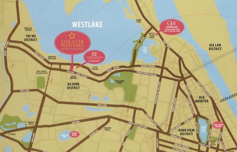 Vị trí dự án Five Star West Lake 167 Thụy Khuê - 162 Hoàng Hoa Thám
