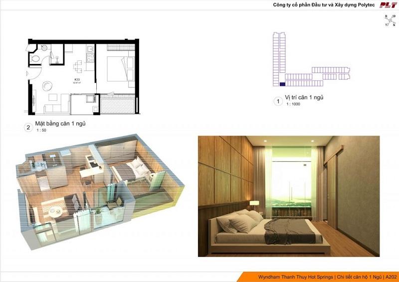 Căn hộ 1 ngủ dự án Condotel Wyndham Thanh Thủy - Phú Thọ