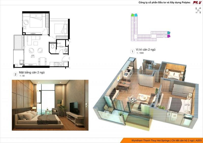 Căn hộ 2 ngủ dự án Condotel Wyndham Thanh Thủy - Phú Thọ