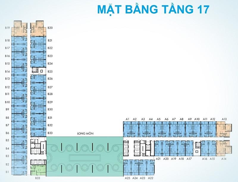 Mặt bằng tầng 17 dự án Condotel Wyndham Thanh Thủy - Phú Thọ
