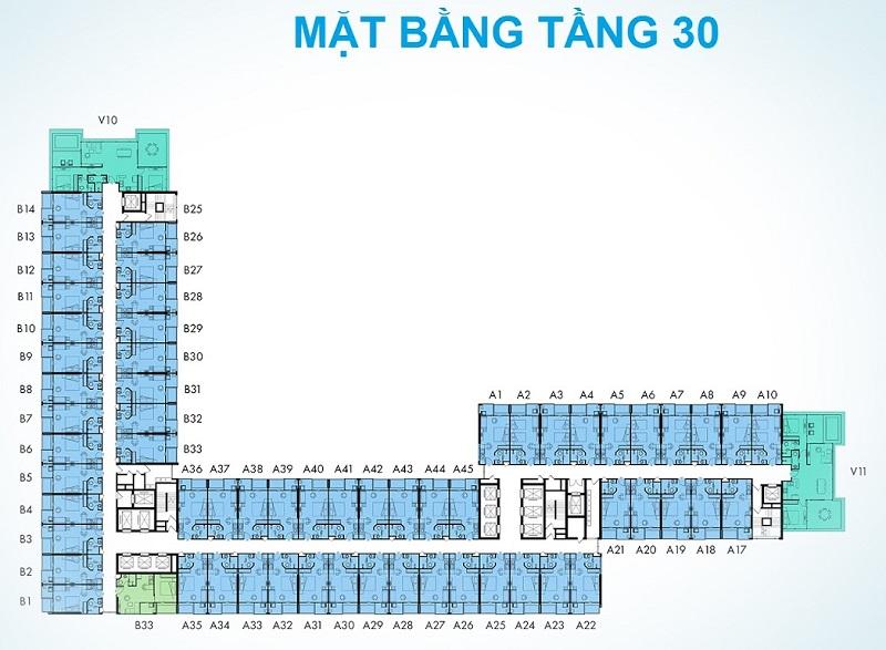 Mặt bằng tầng 30 dự án Condotel Wyndham Thanh Thủy - Phú Thọ