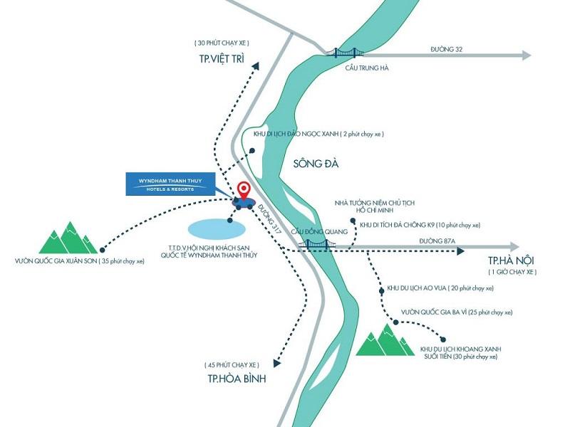 Vị trí dự án Condotel Wyndham Thanh Thủy - Phú Thọ