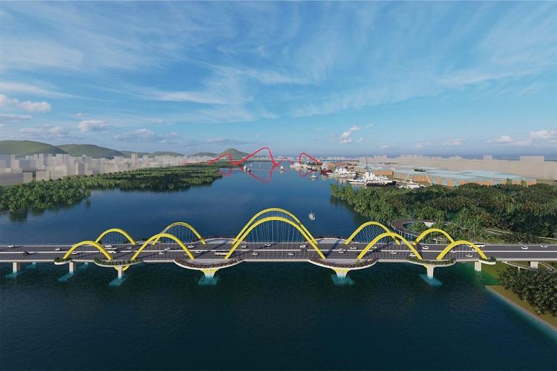 Phối cảnh (2) Cầu Cửa Lục 1 qua dự án Emerald Bay Diễn Loan - Hoành Bồ