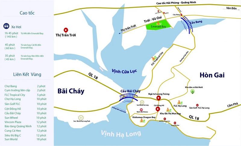Vị trí dự án Emerald Bay Hoành Bồ - Hạ Long