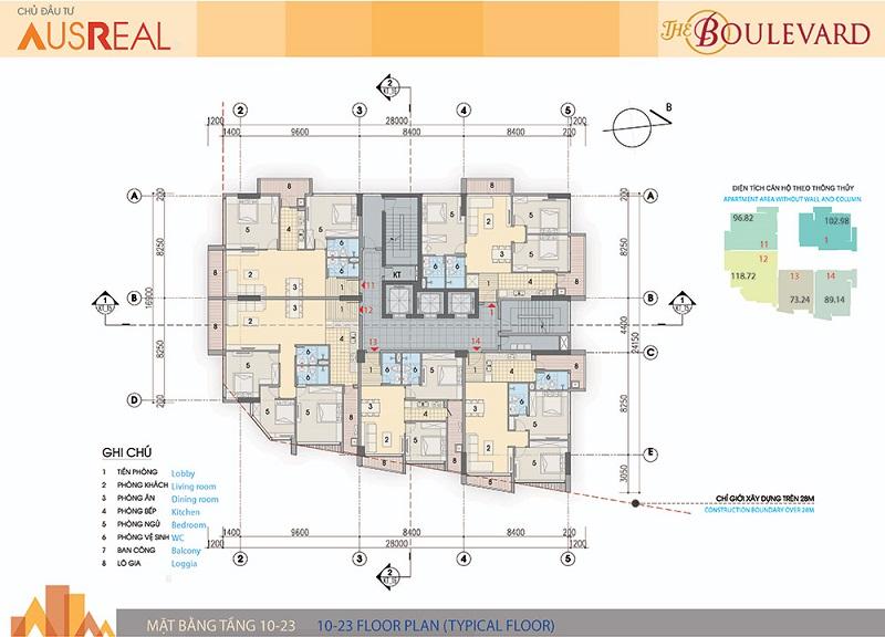 Mặt bằng tầng 10 đến 23 dự án chung cư The Boulevard 22 Liễu Giai