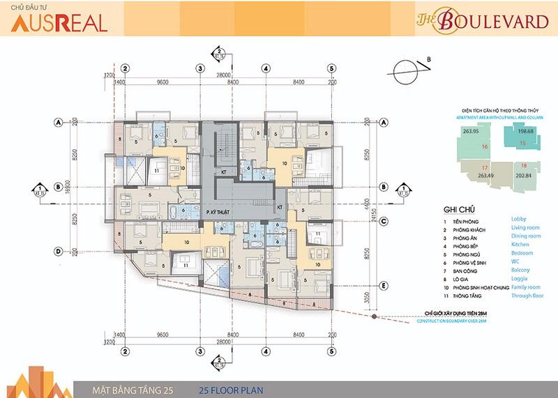 Mặt bằng tầng 25 dự án chung cư The Boulevard 22 Liễu Giai