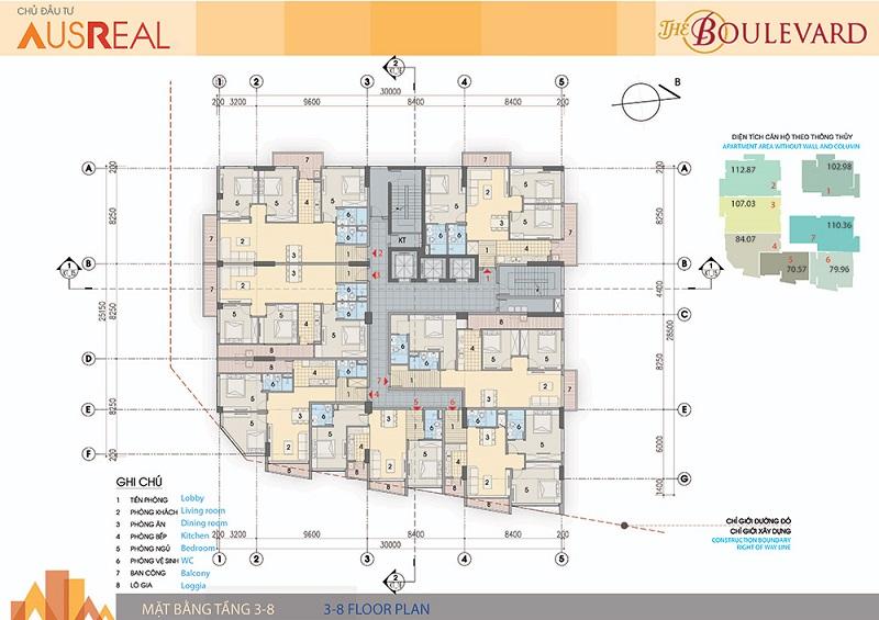 Mặt bằng tầng 03 đến 08 dự án chung cư The Boulevard 22 Liễu Giai
