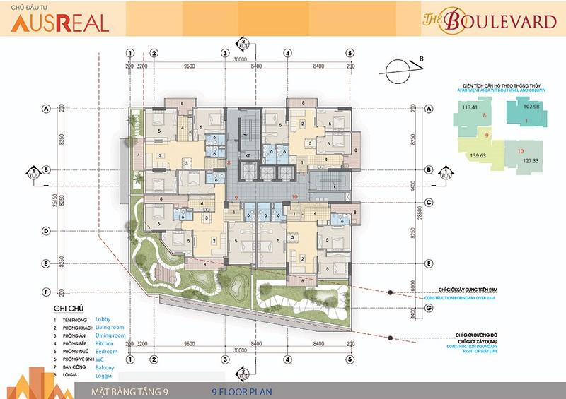 Mặt bằng tầng 09 dự án chung cư The Boulevard 22 Liễu Giai
