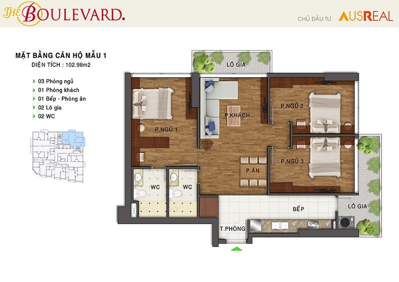 Thiết kế căn 01 dự án chung cư The Boulevard 22 Liễu Giai